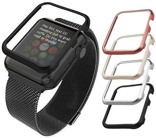 Qualiquipment Aluminium Hülle Kompatibel Mit Apple Watch Iwatch Zubehör Case Bumper Cover Schutzhülle In Den Größen 42mm 38mm Für Series1 Series2 Series3 42mm Schwarz Elektronik