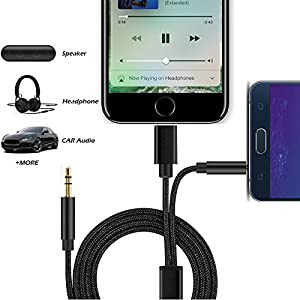 2 in 1 iPhone X / 8 Aux Cord Music Audio Connection Lightning to Aux Adapter Cable with 3.5mm Extension Nylon Auxiliary Wire, Car Audio Cord Converter for iPhone 8/X/7/7 Plus & Android phone