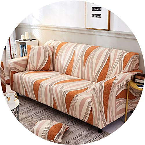 Little Happiness- Spandex Elastic Stretch Geometric Printing Sectional Sofa Cover Protective Slipcovers All-Inclusive Couch Case Cover Living Room,Color 2,2-Seater 145-185cm