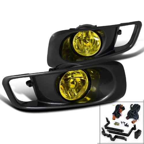 Spec-D Tuning LF-CV99AMOEM Honda Civic Ex Dx Lx Gx Hx Sedan Coupe 2 4 Door, Yellow Fog Lights Black Case