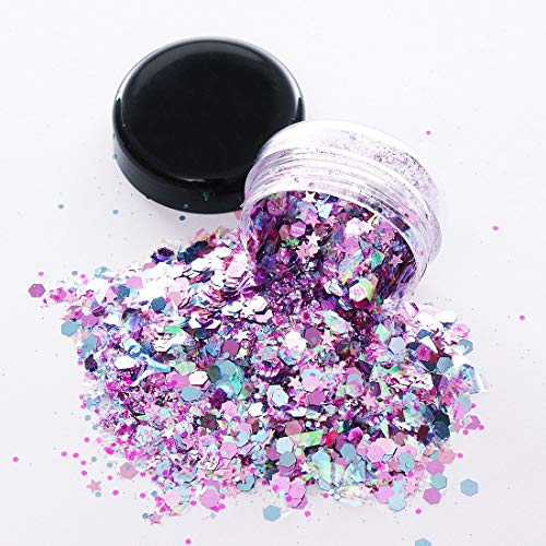 Unicorn Iridescent Chunky Glitter Cosmetic Body Face Hair Eye Nail Glitter Musical Festival Carnival Dance Halloween Party Beauty Makeup DIY Deco 8 Sizes&Shapes 2 Pots (0.5 oz/15g) by GADGETS ENTREPOT]()