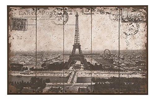 - Deco 79 Wall Art of Postcard Style Paris Eiffel Tower
