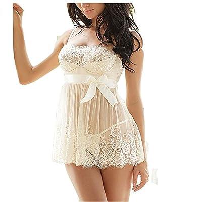 Women Lingerie Sexy Babydoll Lingerie Set White Lace Nightwear Perspective Sleepwear Underwear?Gift Nipples stick?