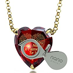 "Gold Plated Heart Necklace I Love You Pendant 24k Gold Inscribed 120 Languages on Red CZ Stone, 18"" Chain"