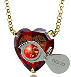 Gold Plated Heart Necklace I Love You Pendant 24k Gold Inscribed 120 Languages on Red CZ Stone, 18'' Chain
