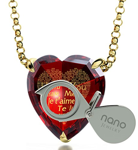 Gold Plated Heart Necklace I Love You Pendant 24k Gold Inscribed 120 Languages on Red CZ Stone, 18