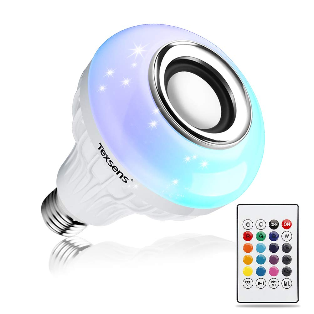 Amazon.com: Texsens LED Light Bulb Bluetooth Speaker, 6W E26 RGB Changing  Lamp Wireless Stereo Audio with 24 Keys Remote Control: Musical Instruments