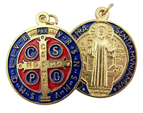 Gold Tone Red and Blue Enamel Saint Benedict Medal Pendant, 1 1/4 Inch (Tone Gold Gold Medal)