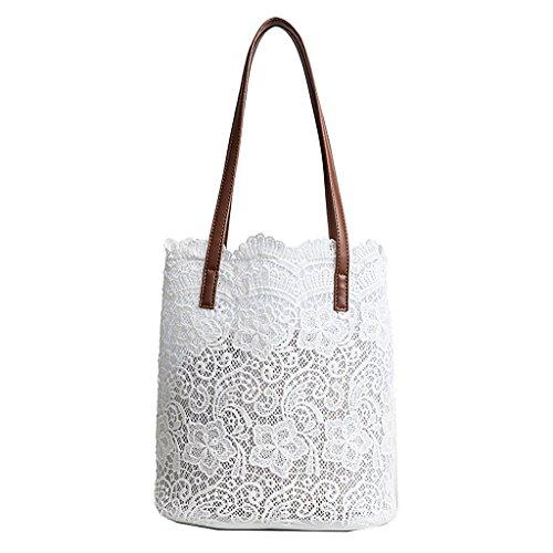 Numkuda 2 in 1 Floral Lace Handbag Women Beach Messenger Bag Tote Boho Shoulder Bag -
