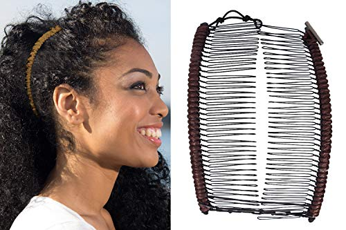 Banana Clip by HairZing - Double Comb for Thick, Curly, Kinky Hair - Put Your Hair Up in Seconds with No Damage, Creases, or Pain - Comfy UpDo, Ponytail, French Twist, Bun (Brown Cord)
