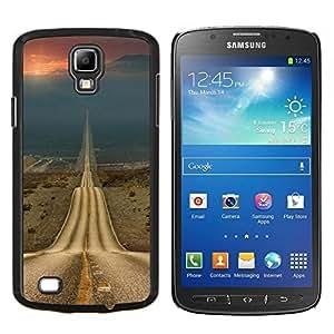 KLONGSHOP // Cubierta de piel con cierre a presión Shell trasero duro de goma Protección Caso - Open Road Libertad Asfalto Drive - Samsung Galaxy S4 Active i9295 //
