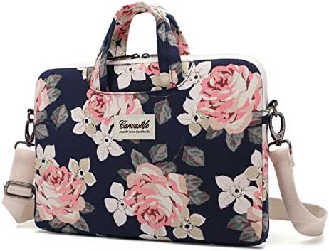 Canvaslife White Rose Patten Canvas Laptop Shoulder Messenger Bag Case Sleeve for 11 Inch 12 Inch 13 Inch Laptop and Macbook Air Pro 11 /12/ 13