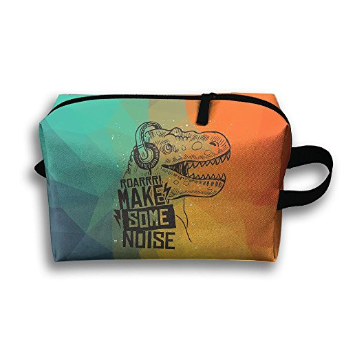 Dinosaur-Make-some-noise-slogan Pattern Fashion Unisex Travel Bag Small Items Collect Portable Toiletry Bag Organizer Storage (Home Girls Make Some Noise)