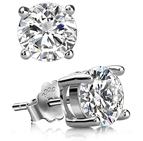 - Sterling Silver April Birthstone Earrings | 8mm Simulated Diamond Earring Stud Ear Studs Anniversary Birthday Mother's Gift SSE63