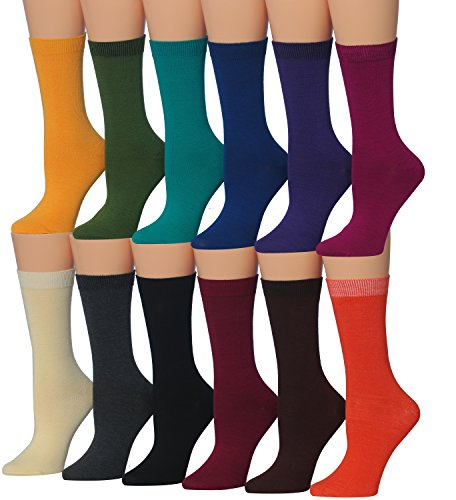 Tipi Toe Women's 12-Pairs Solid Colored Crew, Twelve Dark Colors, Size 5.0 reviews