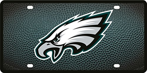 Philadelphia Eagles Team Ball Style Deluxe Acrylic Laser Cut Mirrored License Plate Tag Football ()