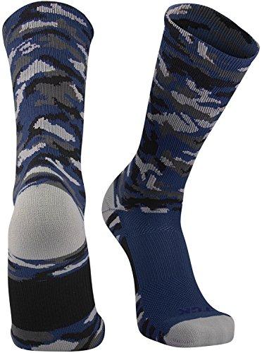 TCK Sports Elite Woodland Camo Crew Socks, Navy, Medium