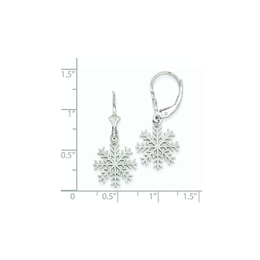 14k White Gold Dangle Polished 3 d Snowflake Leverback Earrings