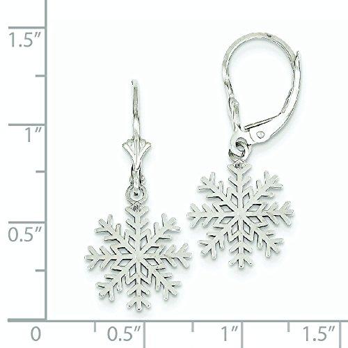 14k White Gold Dangle Polished 3 d Snowflake Leverback Earrings