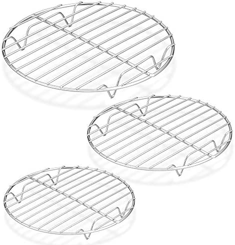 E-far Stainless Steel Round Baking Cooling Rack Set of 2 Multi-Purpose for Canning Air Fryer Pressure Cooker Dishwasher Safe 7/½ Inch Steaming Cooking Racks