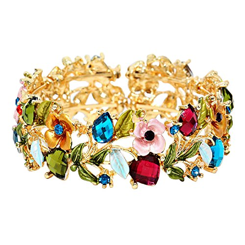 Rosemarie Collections Women's Glass Crystal and Floral Vine Fashion Cuff Bracelet (Jewel Tones)