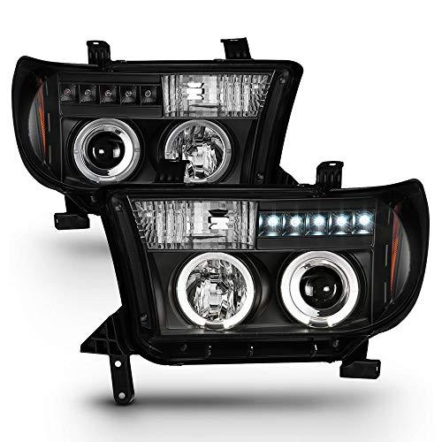 ACANII - For 2007-2013 Toyota Tundra 08-17 Sequoia LED Halo Ring Black Housing Projector Headlights Headlamps -