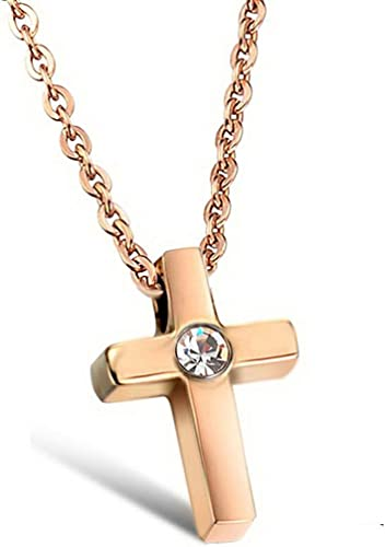 Amazon Com Infinite U Stainless Steel Simple Cross Rose Gold For