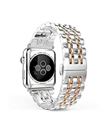 Apple Watch Band Stainless Steel Link Bracelet Double Button Folding Clasp Replacement Strap for Apple Watch 38mm Silver & Rose Gold