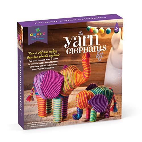 Craft-tastic - Yarn Elephants Kit - Craft Kit Makes 2 Yarn-Wrapped Elephants (Renewed)