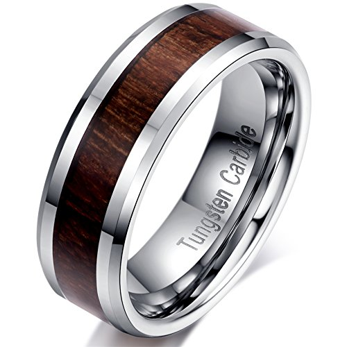 6mm Silver Tungsten Carbide Wood Inlay Men Women Vintage Wedding Ring Engagement Promise Band Comfort Fit Size 10 by Satemi Wedding Jewelrys