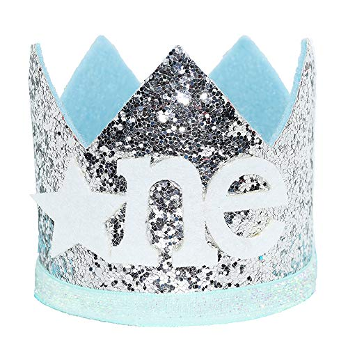 Maticr Glitter Baby Boy First Birthday Crown Number 1 Headband Little Prince Princess Cake Smash Photo Prop (Tiny Silver Light Blue One)