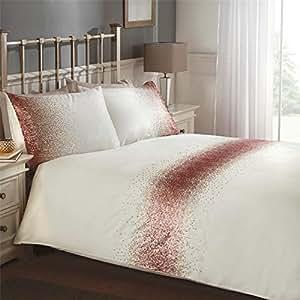 Ombre lentejuelas banda rosa doble, color beige (Biscuit Beige sábana bajera liso–137x 191cm + 25) Plain para galletas beige fundas de almohada 6piezas Juego de cama