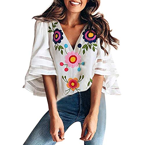 (Women's Fashion Deep V-Neck Sweet Floral Print Mesh Panel 3/4 Sleeve Blouse Casual Chiffon Loose Bell Sleeve Shirt Tops White)