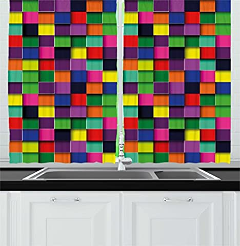 Abstract Kitchen Curtains by Ambesonne, Geometric Square Shaped Lines in Several Colors TV Style Digital Illustration, Window Drapes 2 Panels Set for Kitchen Cafe, 55W X 39L Inches, - 55w Tv