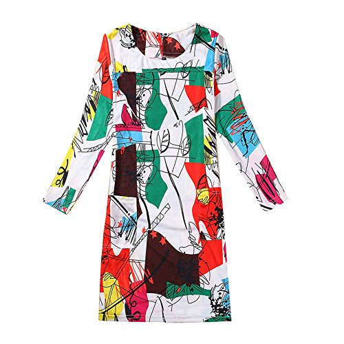 Losorn Womens Long Sleeve Dress Tops Plus Size Casual Stretchy Cocktail Dress