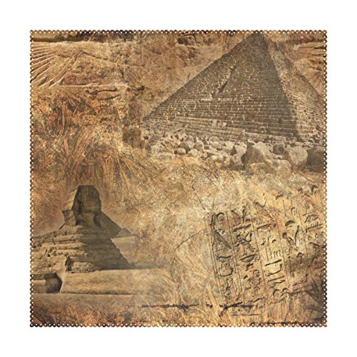 XiangHeFu Placemats Vintage Art Egyptian Mysterious Pyramids 12x12 inch Set of 4 Heat Resistant Non Slip for Dinning Table (Rattan Set Vintage Sale Dining)