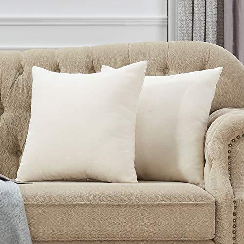 18' Beige Decorative Pillows - ZIRUNKING Home Decorative Beige Throw Pillow Covers Square Pillow Cases Velvet Soft Pillowcases, 18