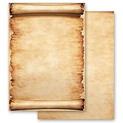 Papel de carta - Hojas estampadas PERGAMINO 20 hojas DIN A4 ...