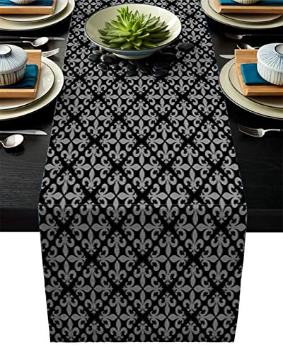 Table Runner Square Flowers Decorated with Abstract Patterns of French Lilies Durable Washable Cotton Linen Table Top Cover Placemats for Kitchen Dinning Tea Table Use 18X72In
