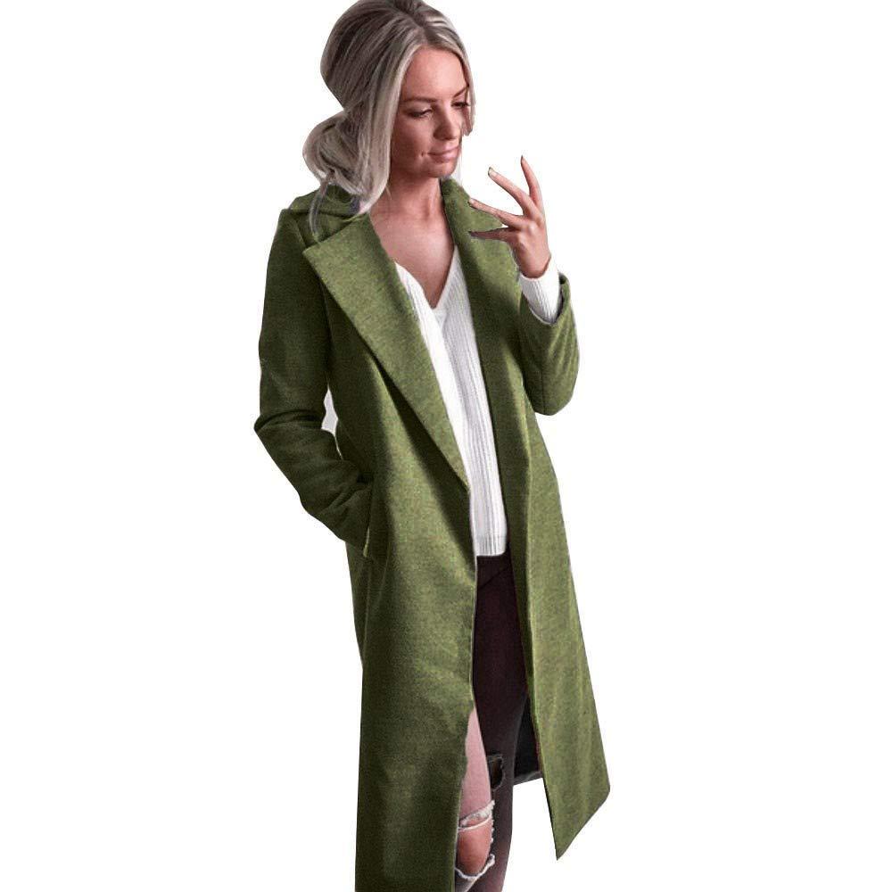 Winter Womens Long Coats,KIKOY Lapel Parka Jackets Cardigan Overcoat Outerwear Green by Kikoy womens jackets