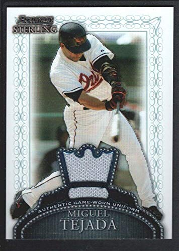 (BIGBOYD SPORTS CARDS Miguel Tejada 2005 Bowman Sterling #BSMT Game Jersey Baltimore Orioles SP )