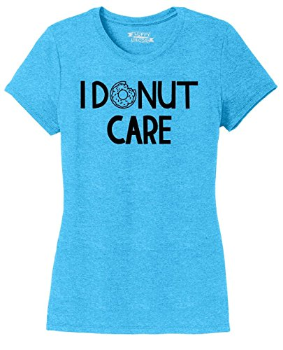 Comical Shirt Ladies Tri-Blend Tee I Donut Care Turquoise Frost XL (Care Blend)