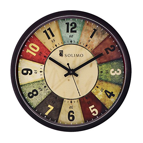 Amazon Brand – Solimo 12-inch Wall Clock – Classic Roulette (Silent Movement, Black Frame)