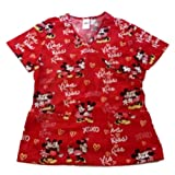 Disney Womens Mickey Mouse Medical Smock Top Nurse Scrubs Shirt Red Minnie Love