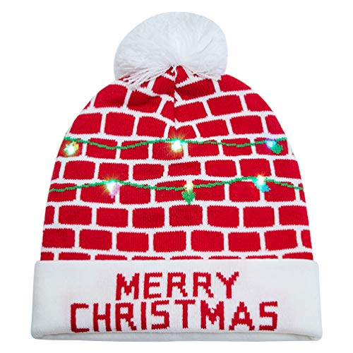 Uideazone for Men Women Merry Christmas Printed Sweater Knit Hat Carnival Beanie Hats