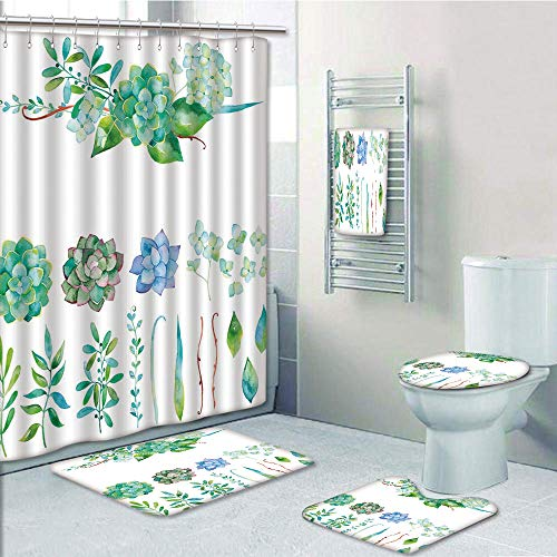 Bathroom Fashion 5 Piece Set shower curtain 3d print,Succulent,Colorful Floral Collection Leaves and Flowers Watercolor Botany Drawing Print Decorative,Multicolor,Bath Mat,Bathroom Carpet Rug,Non-Slip