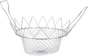 Deep Wire Fry Basket with Handles Foldable Steam Rinse Strain Fry Basket Strainer Net for Poaching Boiling Washing Cooking Tool for Fried Food or Fruits pasta