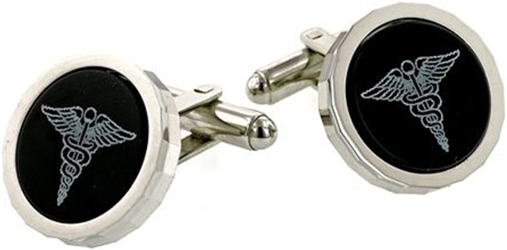 JJ Weston Onyx Etched Caduceus Doctor Cufflinks Made in The USA.