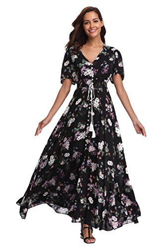(Ferrendo Womens Button Up Split Floral Print Maxi Dress Short Sleeve Flowy Beach Party Boho Dress)
