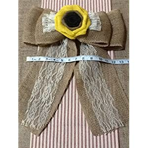12' Wide Burlap Sunflower Lace Tulle Pew Chair Bow Rustic Wedding Reception Venue Decor Wreath Ornament 3